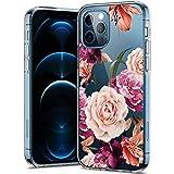 Hülle-Durchsichtig-iPhone-12 Pro,Durchsichtig-Anti-Gelb-Handyhülle-Durchsichtig-Tasche-Schutzhülle,Klare-Blume-Motiv-Süße-Blumen,for-iPhone12 Pro-11