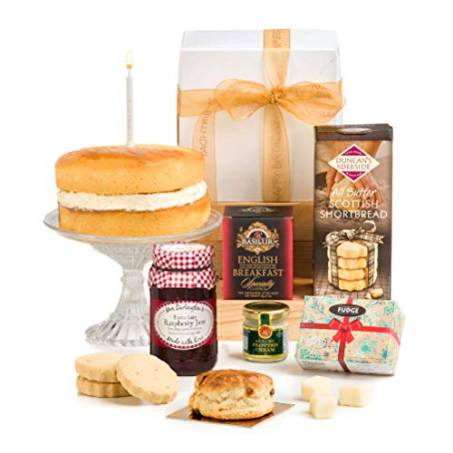Hay Hampers- Birthday Afternoon Tea Hamper in Gift Box with Birthday Cake - No Alcohol - Free UK Delivery