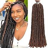 6 Packs/lot Dreadlocks Crochet Braids Soft Faux Locs Crochet Hair Synthetic Braiding Hair Bomba Dreadlocks Faux Locs Soul 18inchGoddess Locs Crochet Hair Braids (18inch, T1B/30)