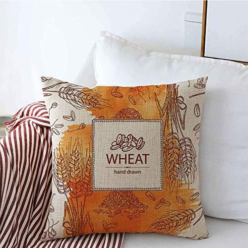 Fundas de almohada decorativas Símbolo de boceto con acuarela dibujada Grano de trigo Grabado de alimentos Panadería Cereal Molino de orejas Bebida de centeno Funda de Cojine 45 X 45CM