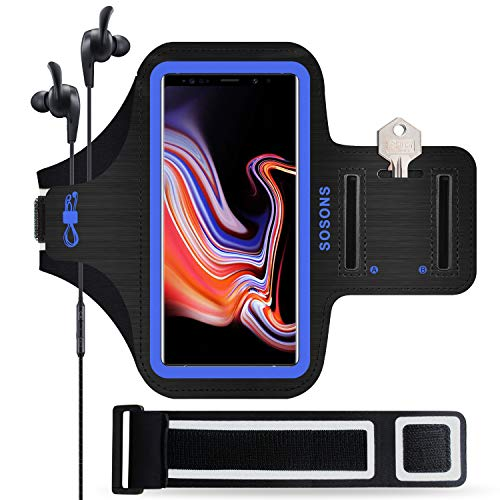 SOSONS Galaxy Note 10+/Note 9/Note 8 Armband, Water Resistant Sports Armband Case for Samsung Galaxy Note 10+/9/8,with Card Pockets and Key Slot,Fits Phones with Slim Case + Extension Strap(Blue)