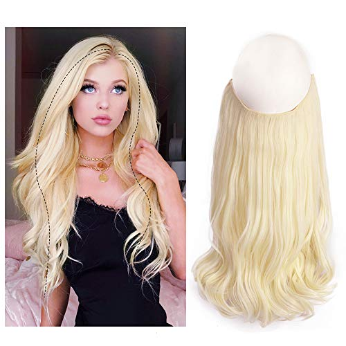 AISI BEAUTY 16 Inches Halo Hair Extension Curly Wave Wire Secret Flip in Curly Wavy Hair Extension Beige Blonde Hairpieces