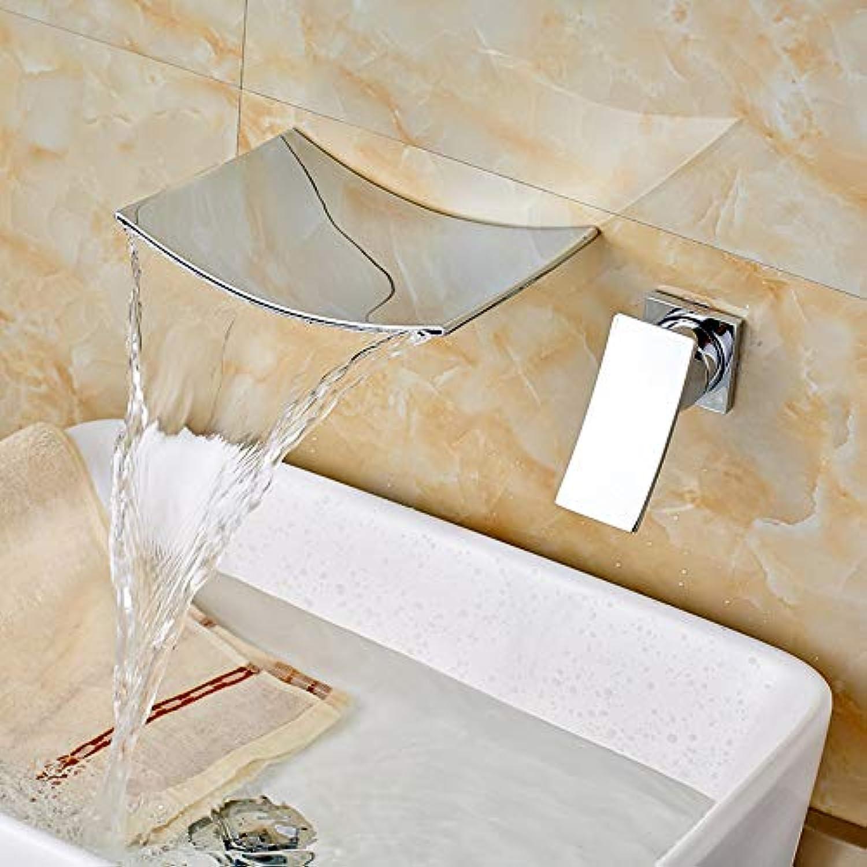 Waschtischarmatur Zeitgenssische Waschbecken Wasserhahn Einhand-Wasserfall Auslauf Mischbatterie Wand Montiert Chrom