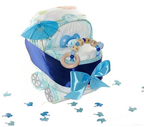 dubistda© Windeltorte Windelkinderwagen für Junge blau/Greifling mit Name / 21-teilig