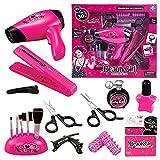FENGLI Kit de peluquería para niños con secador de pelo para niñas