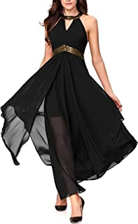Lrady Women's Halterneck Sexy Decolletage Evening Gowns Off Shoulder Sleeveless Hi-Low Hemline Party Club Dress