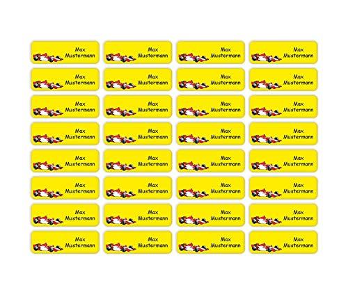 Sunnywall® Namensaufkleber Namen Sticker Aufkleber Sticker 4,8x1,6cm | 60 Stück für Kinder Schule und Kindergarten 38 Hintergründe zur Auswahl (19 Rennwagen Formel-1)