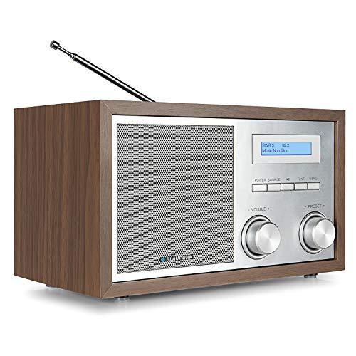 Blaupunkt RXD 180 WN,  Küchenradio DAB+ , Retro Digital-Radio DAB Plus, Bluetooth, Aux In, inkl. UKW/ FM PLL Radio mit RDS, einfache Bedienung, Alu-Optik. Drehregler, beleuchtetes LC-Display, walnuss