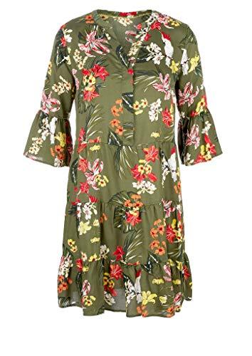 s.Oliver RED LABEL Damen Stufenkleid aus Lyocell khaki AOP 36