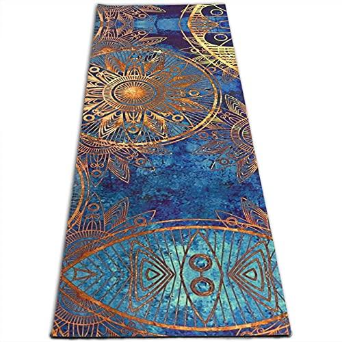 Esterilla de yoga con estampado de mandala, 5 mm de grosor, antideslizante, para todo tipo de yoga, pilates y ejercicios de suelo (180 cm x 61 cm x 0,5 cm)