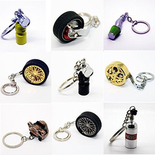 LED-Mafia Luxus Schlüsselanhänger aus Metall - Felge Speiche Rad Bremse Luftfilter - Anhänger Schlüsselring Etui Chromfelge Schlüssel (Felge Stern Chrom ohne Reifen)
