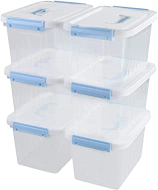 Tyminin Small Plastic Clear Storage Lidded Latch Box Bin with White Lid and Light Blue Handles, 6 Packs