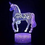 Lámpara de mesa creativa 3D unicornio Pegasus LED luz nocturna multicolor base agrietada lámpara decorativa regalo