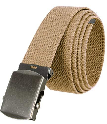 Military Belt Canvas Belt Web Belt Non Leather Belt Antique Buckle/Tip One Size fits all, 1-1/2' Wide (Beige)