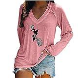 Wave166 Blusa para mujer, monocolor, sexy, cuello en V, camiseta...