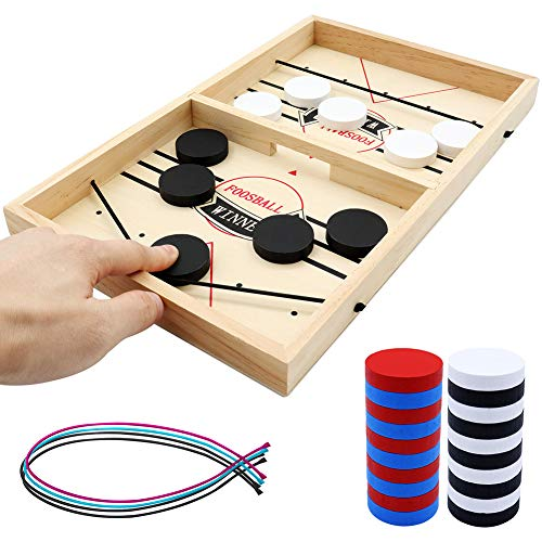 Sling Puck Game Fun Board Games slingpuck Game Toy Wooden Hockey Table Game Fast Table Desktop Battle 2 in 1 ice Hockey Game Small Size Come with Spring Rope Game Table Toy for Kids