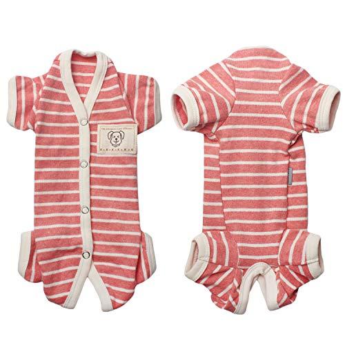 Tony Hoby - Pijama de 4 patas para perro, de algodón suave para perro, diseño de rayas, para mujer y hombre, Rosa+Blanco-Niñas, M