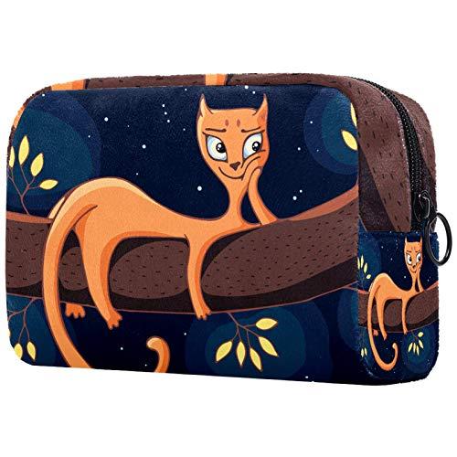 Borse per il trucco Custodia multifunzione per organizer per cosmetici da viaggio portatile Ramo del gatto con borse da toilette con cerniera per donna