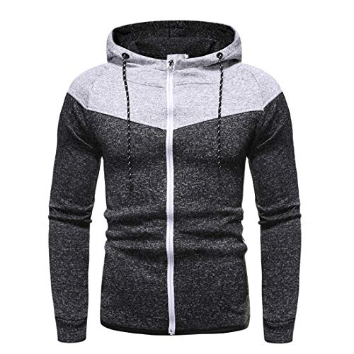 Zytyeu Jacke Herren Sportjacke Reißverschluss Slim Fit Baumwollmischung Weiche Herren Jacke Patchwork Mode Kapuzenjacke Herren Sportjacke Spring and Autumn Daily Casual Jacket A-Black XL
