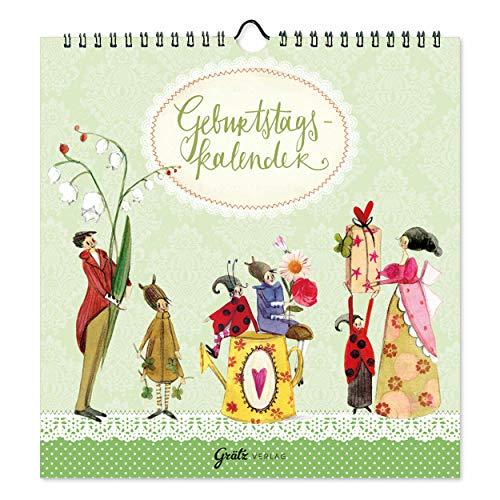Geburtstagskalender jahresunabhängig, Wandkalender für Geburtstage, universal, ohne Jahreszahl, liebevoll illustriert, 12 Monatsseiten, mit Spiralbindung, Grätz Verlag