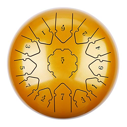 12 Zoll Steel Pan Drum Stahl Tongue Drum 13 Töne Hand Pan Drum mit Trommelschlägeln Tragetasche Note Sticks für Meditation Yoga Zazen Klangheilung