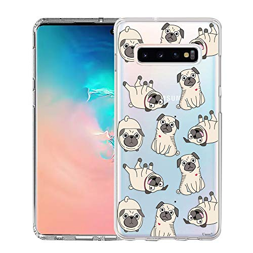 Unov Galaxy S10 Case Clear with Design Soft TPU Shock Absorption Embossed Pattern Slim Protective Back Cover for Galaxy S10 6.1in (Pug Dog)