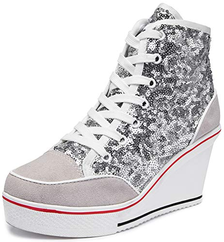 Solshine Damen Sportschuhe mit 8cm Keilabsatz PaillettenSneaker 720 Silber 40EU