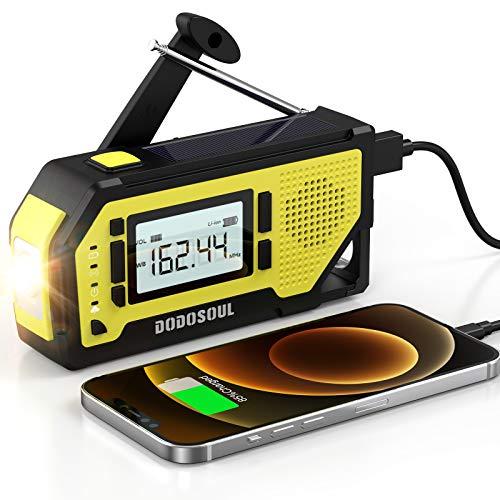 【2021 Newest】 Emergency Radio DODOSOUL Solar Hand Crank RadioAM/FM/NOAA Weather Radio with Large LCD Display Portable Hurricane Survival Radio with Flashlight 2000mAh Chargable Battery SOS Alert