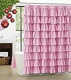 WestWeir Rüschen-Duschvorhang, 213,4 cm, extra lang, rosa gerüschte Badvorhänge für Badezimmer, Stoffbauernhaus-Dekoration, weiche Stoffstruktur, (182,9 cm breit, 1 Panel)