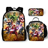 3Pcs Backpack for Boys with Lunch Bag Pencil Case Kids School Bags Student Bookbag for Girls Teens Movie Fans Gifts