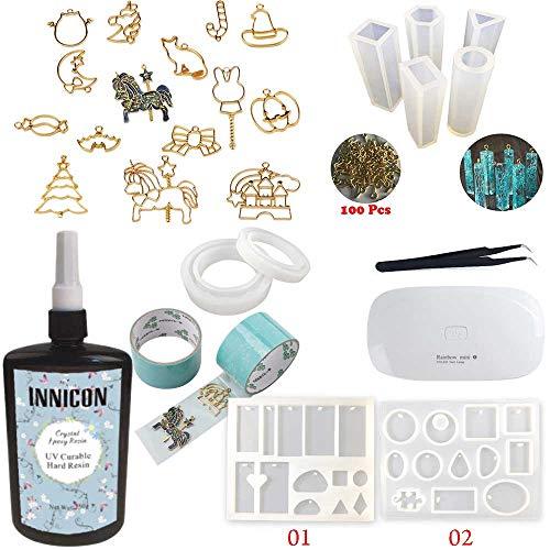 INNICON 250g UV-uithardbare epoxyhars glasheldere transparante set, 9 siliconen mallen 15 open rug bezels 13 pigment UV-lamp pincet voor diy handgemaakte sieraden hangers oorbellen maken kit