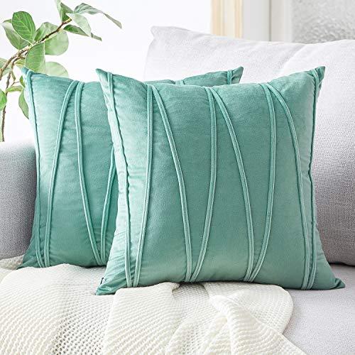 Top Finel Juegos 2 Hogar Cojín Terciopelo Suave Decorativa Almohadas Fundas de Color Sólido para Sala de Estar sofás 45X45cm Verde Claro