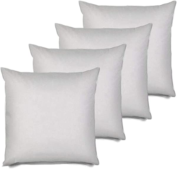 MSD 4 Pack Pillow Insert 28x28 Hypoallergenic Square Form Sham Stuffer Standard White Polyester Decorative Euro Throw Pillow Inserts For Sofa Bed Made In USA Set Of 4 Machine Washable And Dry