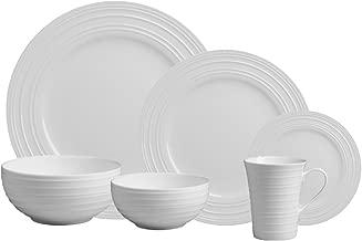 Mikasa Swirl White 36-pc Bone China Dinnerware Set, Service for 6