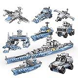 Dittzz 8 en 1 Porte-Avions Militaire Jouet, Déformable Véhicule Militaire Blocs de Construction, 635 Pièces Jeu de Construction Compatible avec Lego