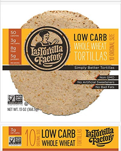 7' La Tortilla Factory Whole Wheat Low Carb Tortillas (Regular Size) Pack of 5
