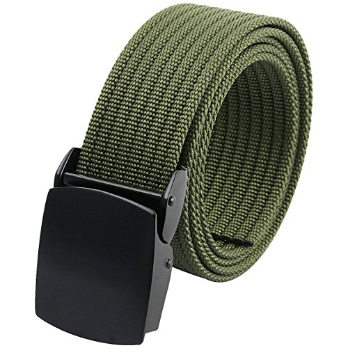moonsix Nylon Belts for Men Adjustable Tactical Military Style Webbing Outdoor Army Duty Belt,Army Green
