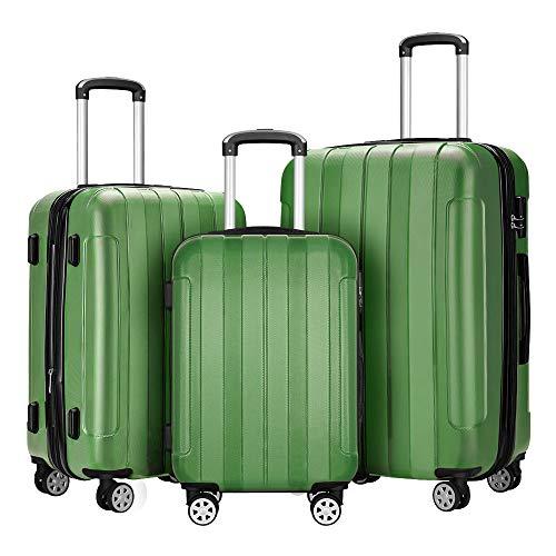 """Fochier Conjunto de 3 piezas de equipaje Expandible Hard Shell Spinner maleta ligero,(20"""" 24"""" 28""""),Verde"""