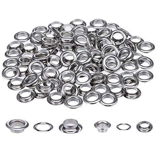 200 Sets 1/2 and 1/4 Inch Grommets Eyelets for Canvas Clothes and Leather DIY Craft Washer Self Backing