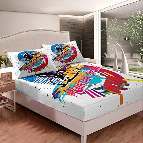 Loussiesd Juego de sábanas para bicicleta de montaña, para niños, adolescentes, deportes extremos, juego de ropa de cama, estilo fresco, decoración de dormitorio, 3 piezas, tamaño doble