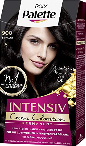 SCHWARZKOPF POLY PALETTE Intensiv Creme Coloration 900/1-0 Schwarz, 3er Pack (3 x 115 ml)