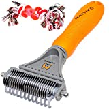 HATTIKO Pet Dematting Tool - 2 Sided Undercoat Rake for Easy Mats & Tangles Removing - Safe Grooming Comb & Deshedding Brush Set : dematting Brush &Toy for pet