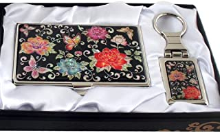 Mother of Pearl Red Peony Flower Design Keychain Key Ring Holder Business Credit Name Card Holder Slim Id Money Case Set