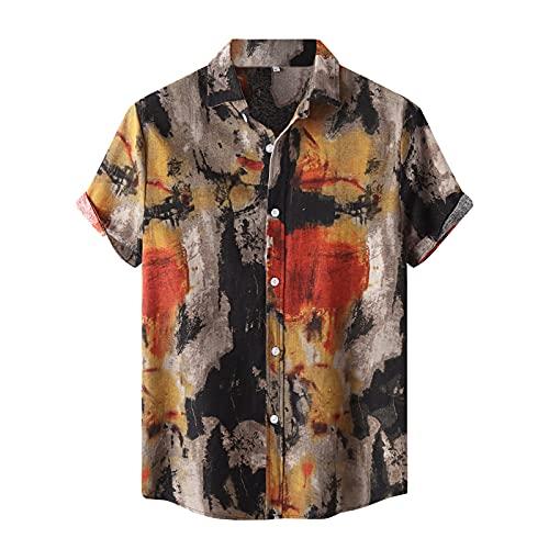 Camisa hawaiana para hombre, corte regular, camisa para hombre, estilo retro, camisa informal hawaiana, manga corta, naranja, M