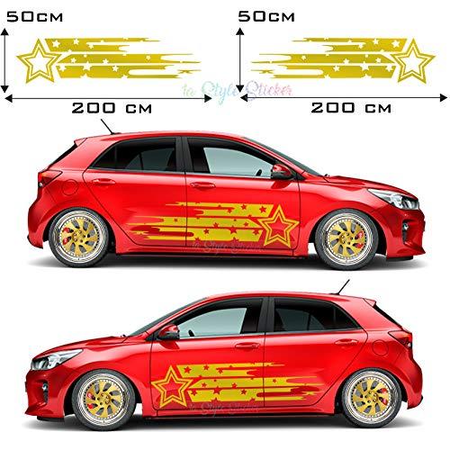 Auto Aufkleber Seitendekor, Seitenaufkleber JDM Seite Stern Pfeil JDM Tuning, Jdmway, JDM Motiv Style, OEM Style