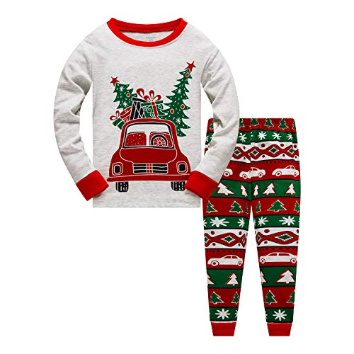 Little Boys Girls Christmas Pajamas Sets for Toddler 100% Cotton Dinosaur Planet Sleepwear Long Sleeve 2 Piece kids Clothes Pjs 3-7T car-6277-8
