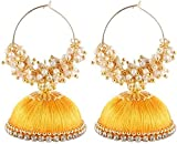 CB Collections Yellow Plastic and Silk Thread Jhumka for Women