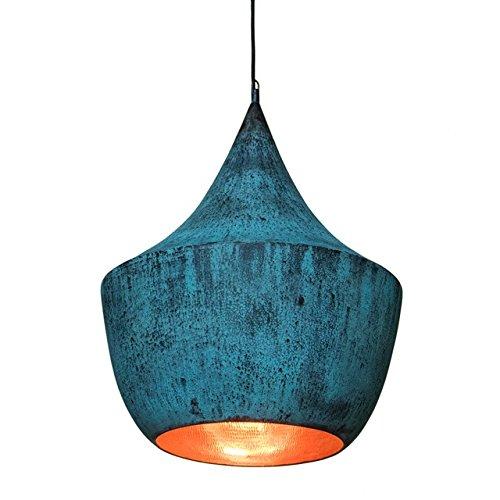 wohnfreuden Kupfer-Lampe aus Metall ✓ Hängelampe Pendelleuchte Hängeleuchte ✓ echte Handarbeit ✓ Kupferleuchten für Wohnzimmer Esszimmer Restaurant Küche ✓ Größe M grün 45x45x65 cm