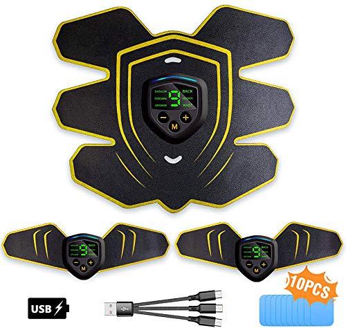 LEMENG Elettrostimolatore per Addominali, Elettrostimolatore Muscolare Professionale per Braccio/Gambe/Glutei, EMS con USB Ricaricabile, 6 modalità e 9 Livelli di Intensità