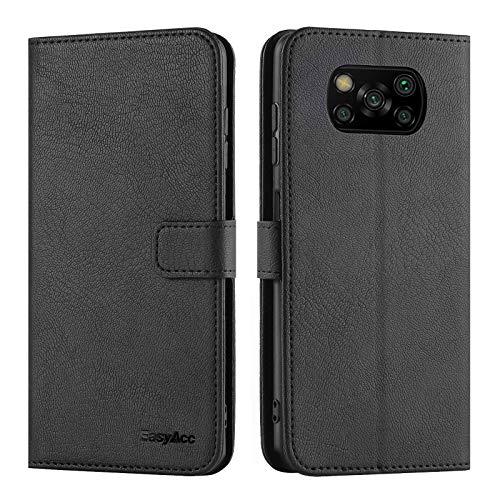 EasyAcc für Xiaomi Poco X3 NFC/Poco X3 Pro Hülle Hülle, PU Leder mit Kartenhalter & Faltbare Tasche Handyhülle mit Standfunktion Brieftasche Handy Schutzhülle - Schwarz